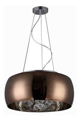 Lustre Pendente Plafon 40cm Cristal Sidney Café C/ Led 5w
