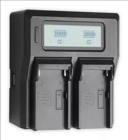 Carregador Duplo Digital Lcd Bateria Sony Np- F970 /f550 /f750 /f950 /np-fm50 /fm500h /qm71