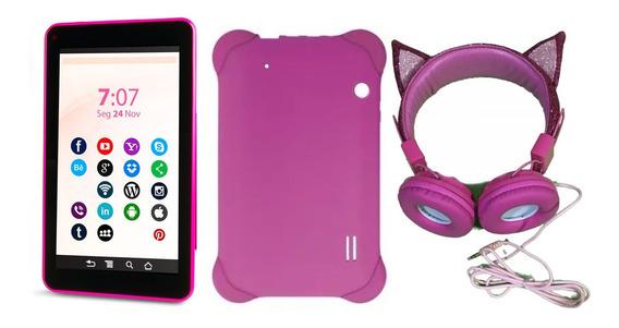 Tablet Android 8.1 Com Capa Emborrachada Rosa E Fone Gatinha