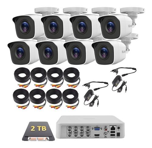Imagen 1 de 6 de Kit Circuito Cerrado 8 Cámaras Hikvision Fhd-1080p Cctv 2 Tb