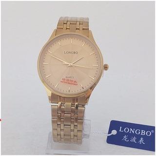 Relógio Feminino Dourado Longbo Quartz Vip Original Folheado A Ouro 12x S/j