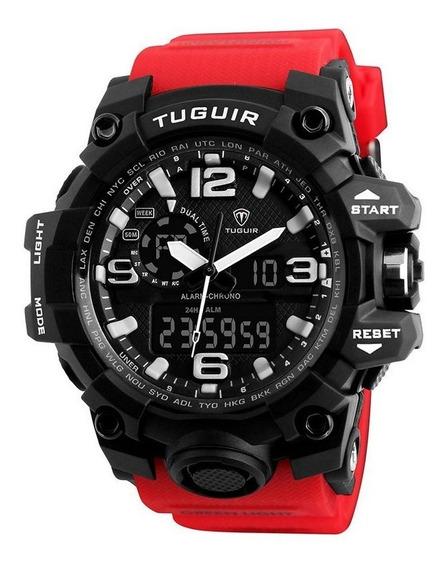 Relógio Masculino Tuguir Anadigi Tg1155 - Vermelho / Preto