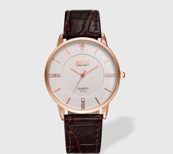 Reloj Ultraplano Cuarzo Marca Bosck Modelo 3312 Cara Blanca