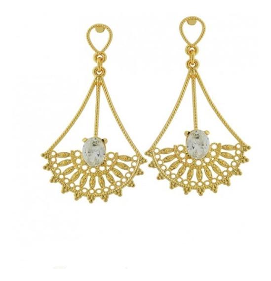 Brinco Feminino Ouro 18k Folheado Gotas Arabesco Pedras C117