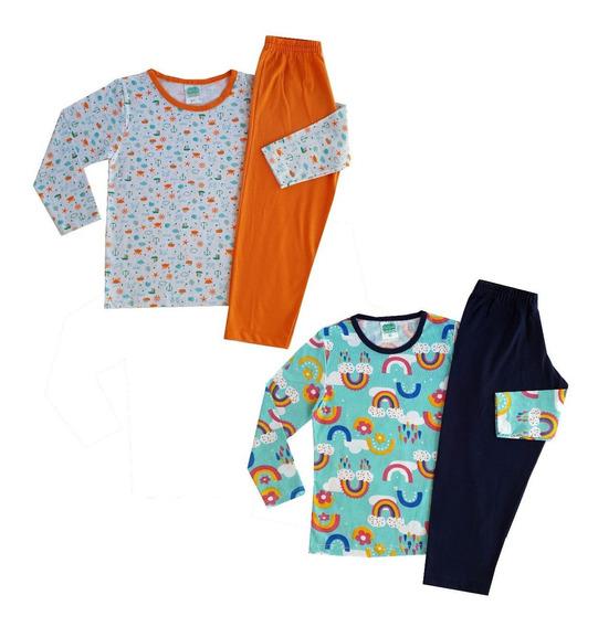 2 Pijama Infantil Feminino Masculino Roupa De Dormir Juvenil