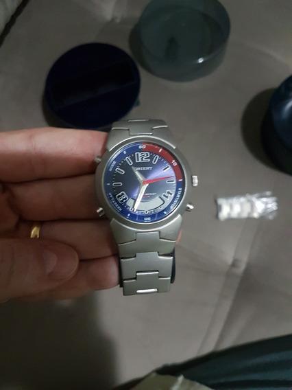 Relógio Orient Masculino Pulseira Metal Prata Fosco