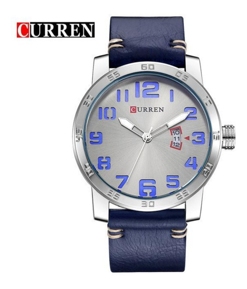 Relógio Masculino Curren 8254 Prata Pulseira Azul Em Couro
