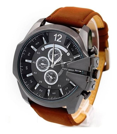 Relógio Masculino Militar Super Speed V6 Pulseira De Couro Oferta