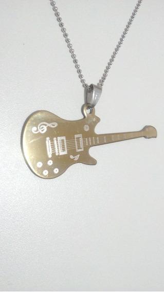 Colar Com Pingente Guitarra Inox Frete 10,00