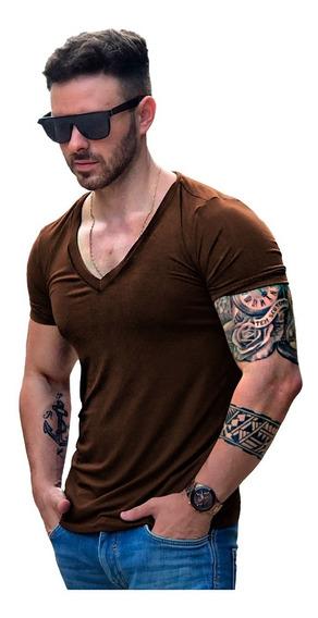 Camisa Básica Slim Fit Masculina Decote Gola V Cavada