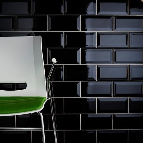 Azulejo Cerámica Negro Brill Mondrian 7,5x15,4 Roca Incepa