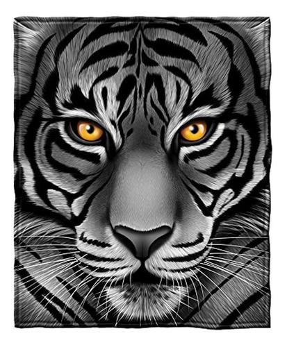Cara De Tigre Blanco De Vellon Manta