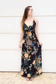e2f4a15546 Vestido Longo Em Viscose E Crepe Floral - Vestidos no Mercado Livre ...