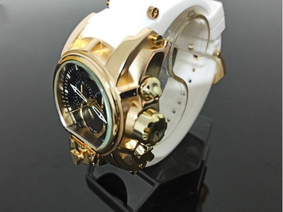 Relógio De Pulso Dourado Pulseira Branca De Borracha