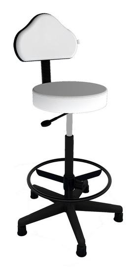 Cadeira Mocho Giratória Alto C/ Apoio Pés Estética/clinicas