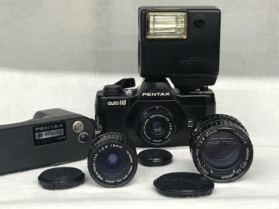 Câmera Pentax Auto 110 Super Slr(conjunto)-coleção.