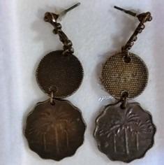 Brincos Em Metal Bronzeado,estilo Chinês,p Orelhas Orifício
