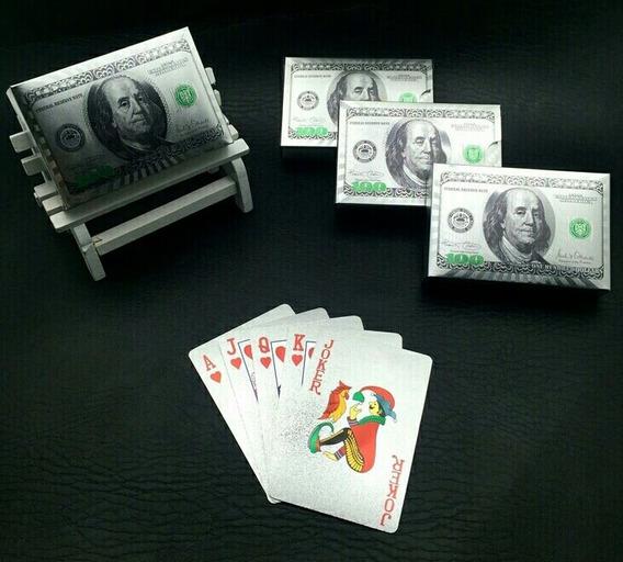 Baralho Prateado Com Estampa Em Dólar Americano!