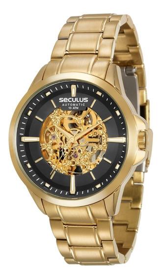Relogio Automatico Esqueleto Dourado Seculus 20552gpsvda1