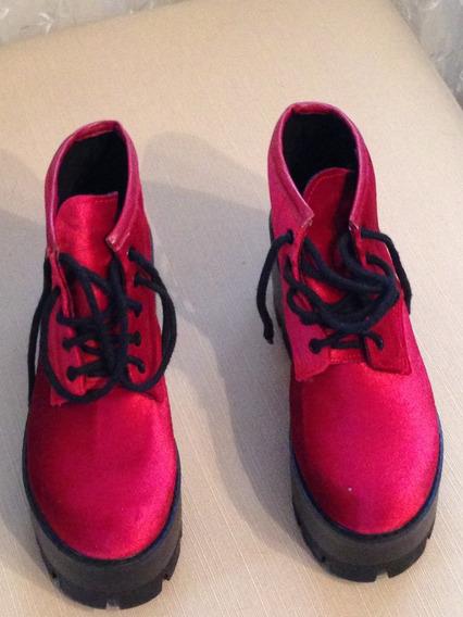 Zapatos Con Plataforma. Rojos. Impecables. Sin Uso