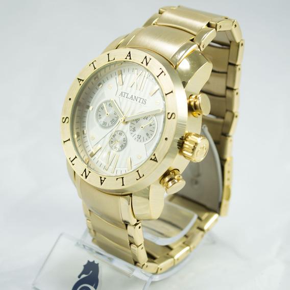 Relógio Masculino Dourado Atlantis Original Bvlgati + Caixa