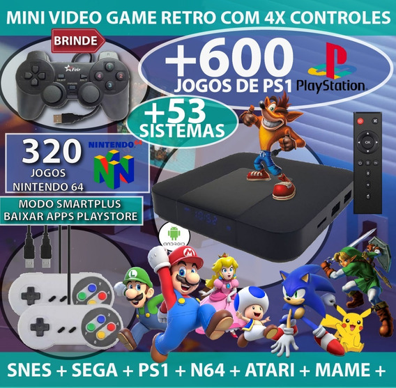 Vídeo Game Retro Multijogos Com 25 Mil Jogos + 3 Controles Super Nintendo E Playstation + Brindes + Ps1 + N64 + Atari