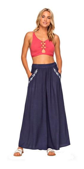 Pantalones Dama Pierna Ancha Bolsillos Laterales Azul Roxy