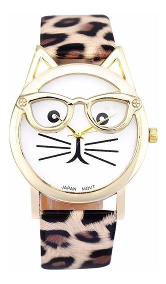 Relogio Adulto Infantil Gato Oculos Pulseira Onça Ad1090