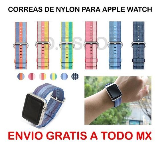 3 Pz Correas Generi Watch Nylon Apol 38 Y 42 Mm Envío Gratis