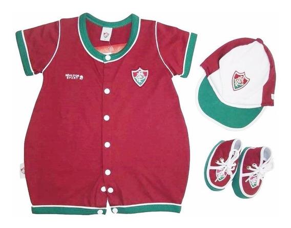 Conjunto Do Fluminense Fc P/ Bebê C/3 Peças Oficial