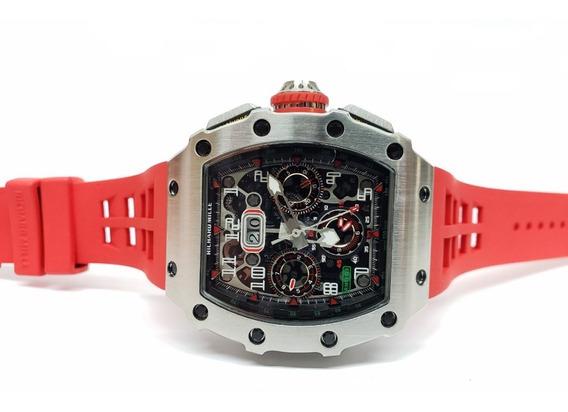 Reloj Richard Mille Rm 1103 Acero Caucho Rojo Automatico
