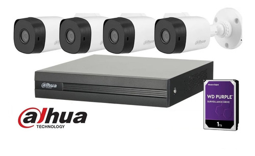 Imagen 1 de 10 de Kit Seguridad Dahua Dvr 4 Camaras Full Hd 1080p Disco 1tb