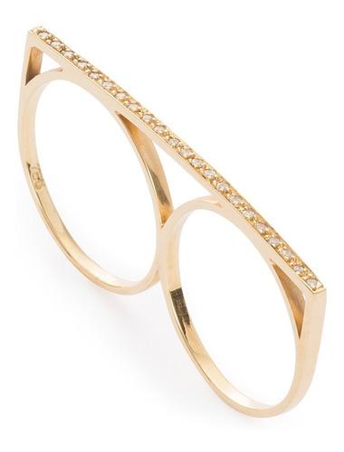 Anel Feminino Em Ouro 18k750 Com Diamantes Design Dois Dedos