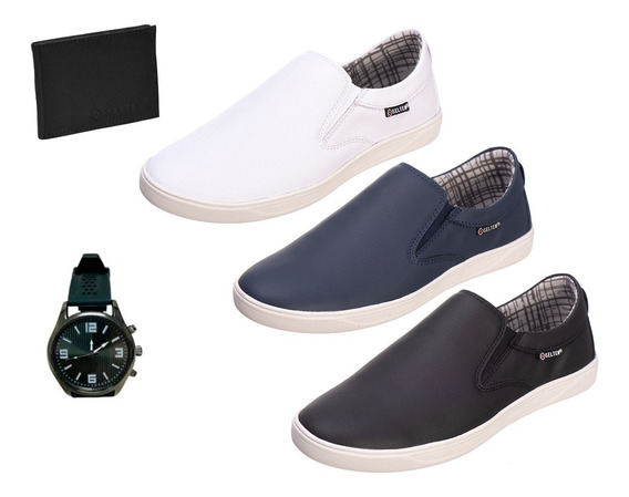 Kit 3 Pares Slip On Masculino Bull Com Relogio E Carteira