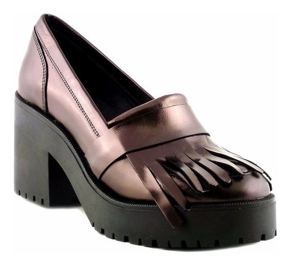 Zapato Cuero Mujer Briganti Taco Plataforma Moda - Mccz03393