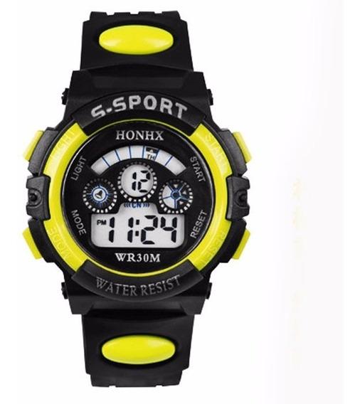 Relógio Digital Infantil Honhx Amarelo Masculino + Brinde