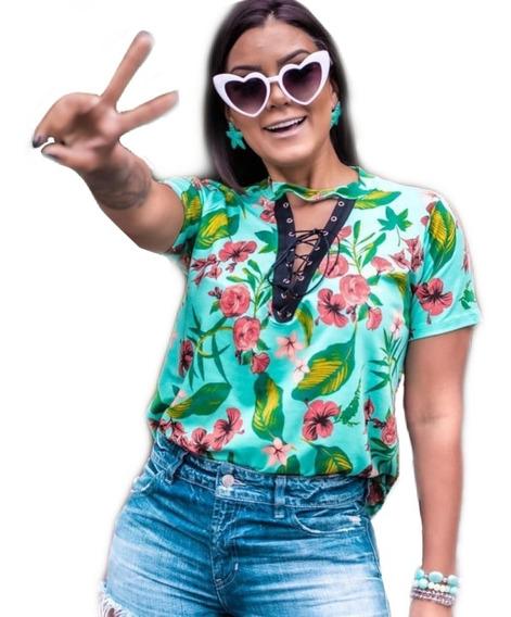Blusa T-shirt Camisão Blusão Floral Tendencia Camiseta