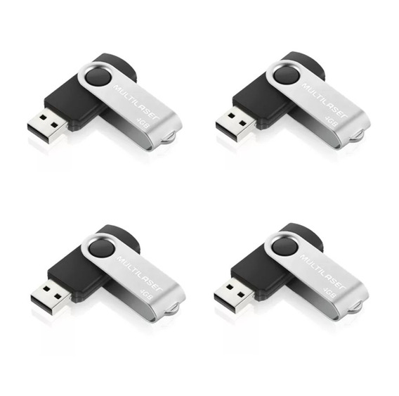 Pendrive Multilaser Twist 4gb Preto Original Atacado - 10 Un