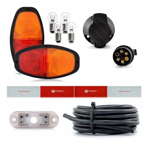 Kit Instalação Lanterna Para Carretinha Reboque Engate 7 Mt