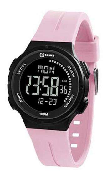 Relógio Feminino Rosa E Preto Digital X-games Original +nf