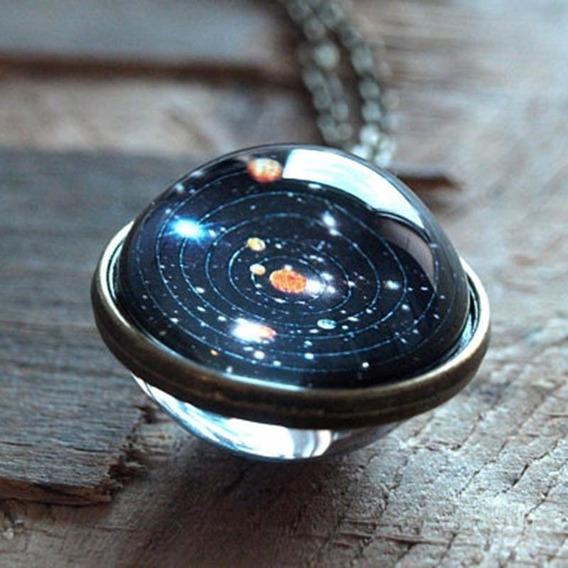 Colar Pingente Esfera Sistema Solar Planetas Galaxia