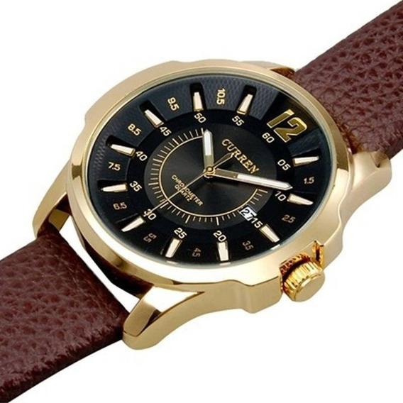 Relógio Masculino Curren Dourado E Preto 1 Ano De Gar+nfe