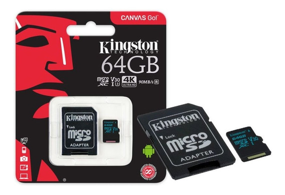 Cartão Memória Classe 10 Kingston 64 G U3 V30