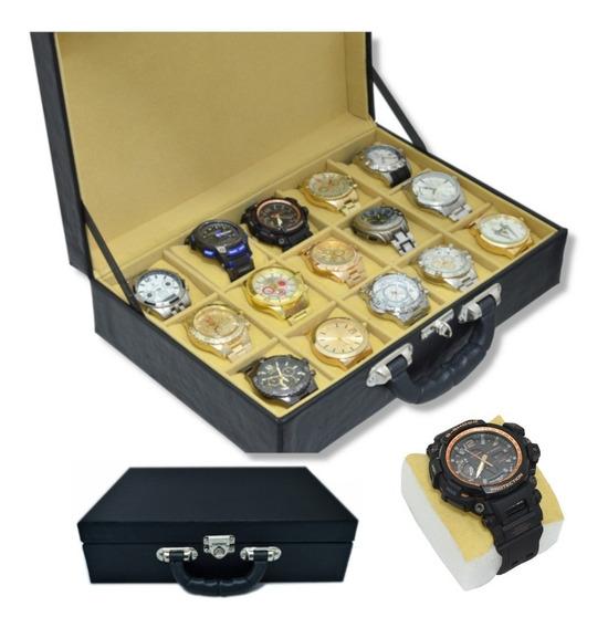 Caixa Maleta Estojo Porta 15 Relógios Em Couro Eco!