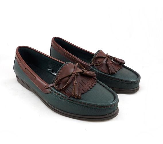Calzado Zapato Mocasín Cuero Clásico Verde Combinado Crespo