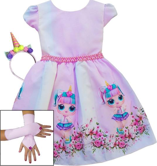 Vestido Infantil De Festa Tema Lol Unicornio E Kit