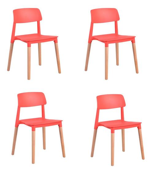 Set De 4 Sillas De Comedor Syed Rojo