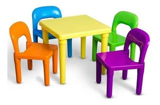 Set De Mesa+sillas De Juguete Para Niños Y Niñas De Plastico