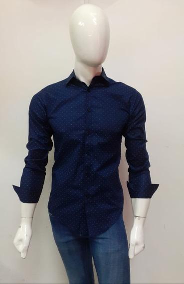 Camisa Azul Marino De Manga Larga