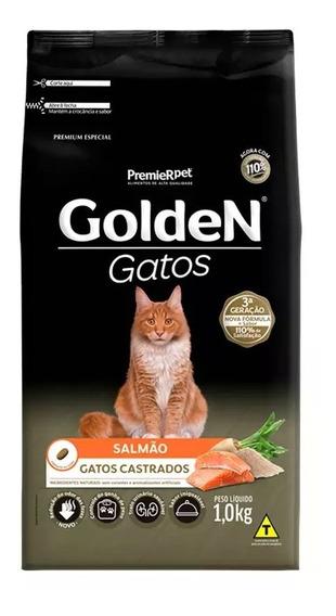 Ração Golden Premium Gatos Castrados Sabor Salmão 1kg